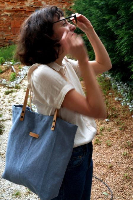 sac cabas bleu gris
