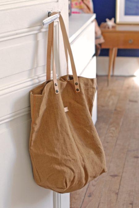 sac cabas lin brun